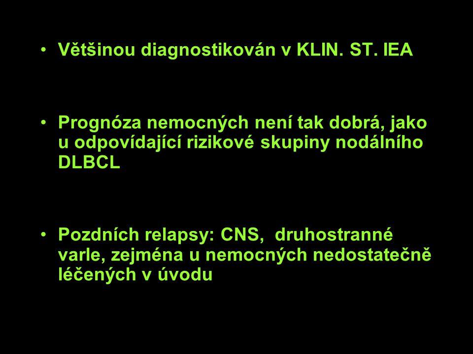 Většinou diagnostikován v KLIN. ST. IEA Prognóza nemocných není tak dobrá, jako u odpovídající rizikové skupiny nodálního DLBCL Pozdních relapsy: CNS,