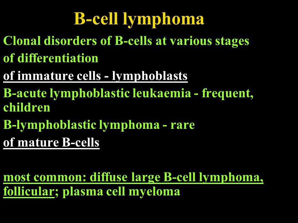 Mature B-cell lymphomas Chronic lymphocytic leukemia/small lymphocytic lymphoma; B-cell prolymphocytic leukemia Lymphoplasmacytic lymphoma Hairy cell leukemia Plasma cell myeloma Monoclonal gammopathy of unknown significance Solitary plasmacytoma of bone Extraosseous plasmacytoma Extranodal marginal zone B-cell lymphoma= MALT Nodal marginal zone B-cell lymphoma Splenic marginal zone lymphoma