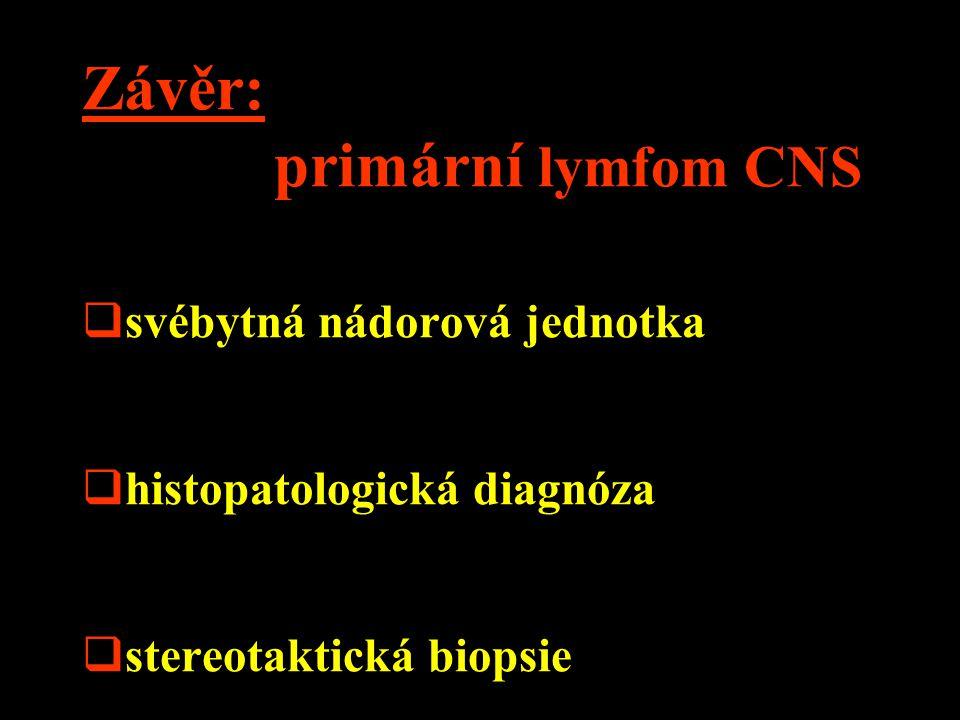 Závěr: primární lymfom CNS  svébytná nádorová jednotka  histopatologická diagnóza  stereotaktická biopsie