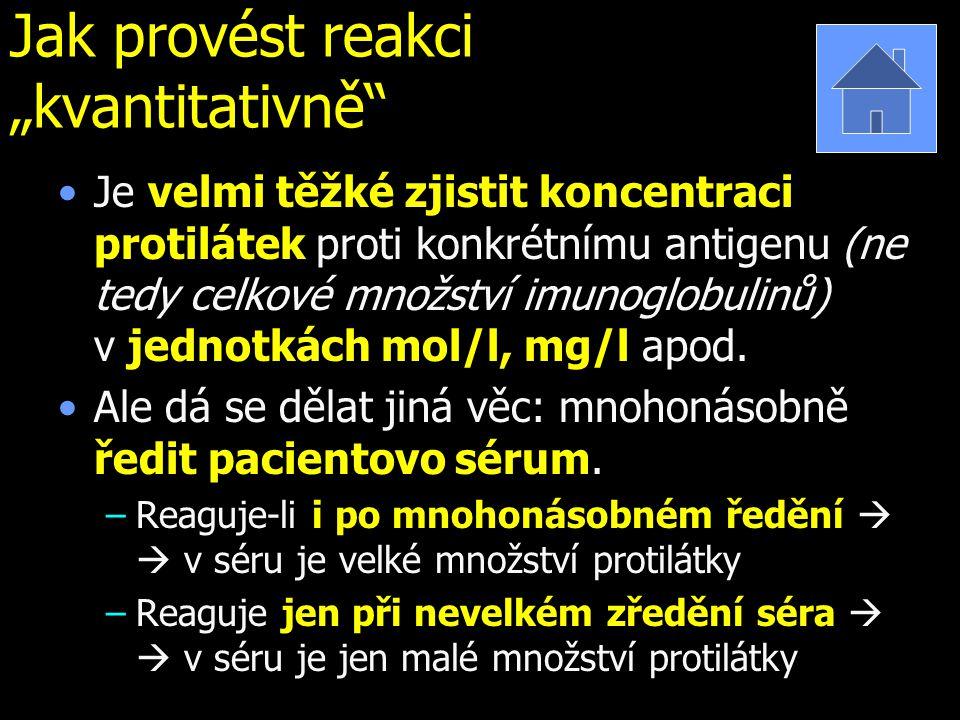 """Jak provést reakci """"kvantitativně"""" Je velmi těžké zjistit koncentraci protilátek proti konkrétnímu antigenu (ne tedy celkové množství imunoglobulinů)"""