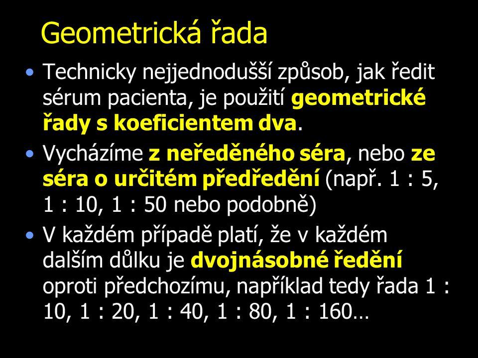 Geometrická řada Technicky nejjednodušší způsob, jak ředit sérum pacienta, je použití geometrické řady s koeficientem dva. Vycházíme z neředěného séra