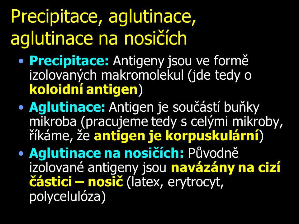 Precipitace, aglutinace, aglutinace na nosičích Precipitace: Antigeny jsou ve formě izolovaných makromolekul (jde tedy o koloidní antigen) Aglutinace: