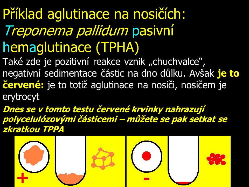 """Příklad aglutinace na nosičích: Treponema pallidum pasivní hemaglutinace (TPHA) Také zde je pozitivní reakce vznik """"chuchvalce"""", negativní sedimentace"""