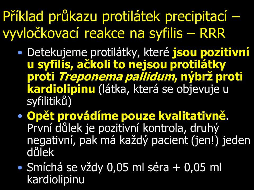 Příklad průkazu protilátek precipitací – vyvločkovací reakce na syfilis – RRR Detekujeme protilátky, které jsou pozitivní u syfilis, ačkoli to nejsou
