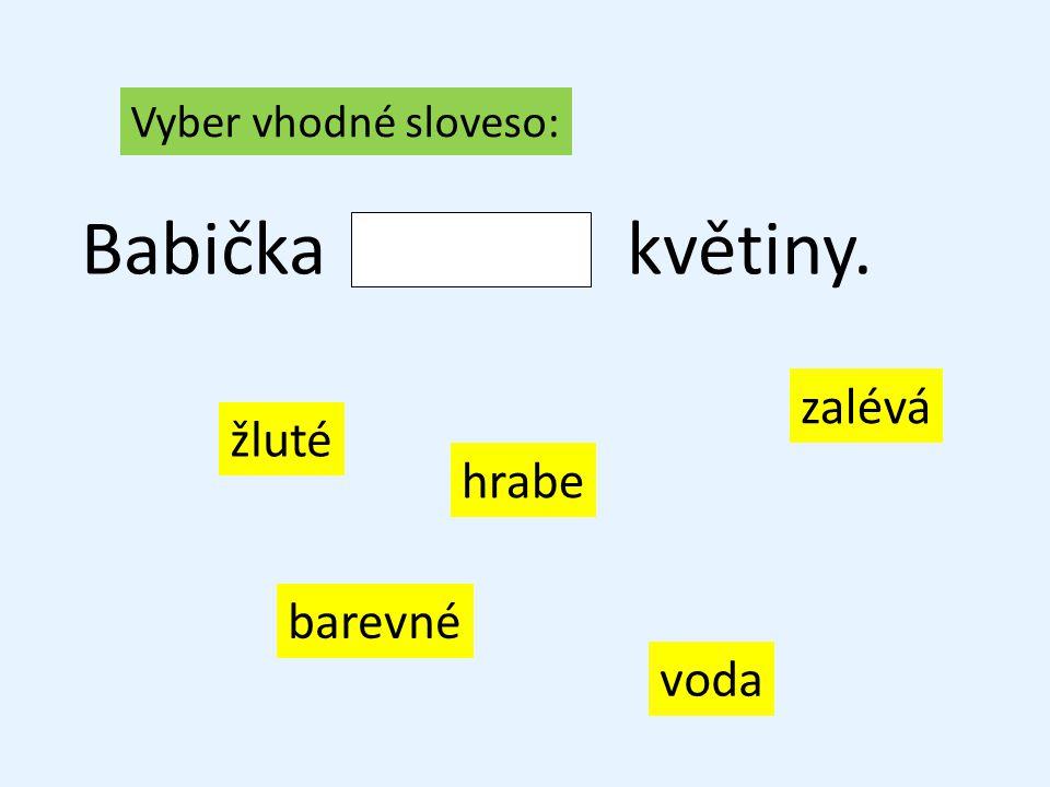 Vyber vhodné sloveso: Babičkakvětiny. zalévá hrabe voda žluté barevné