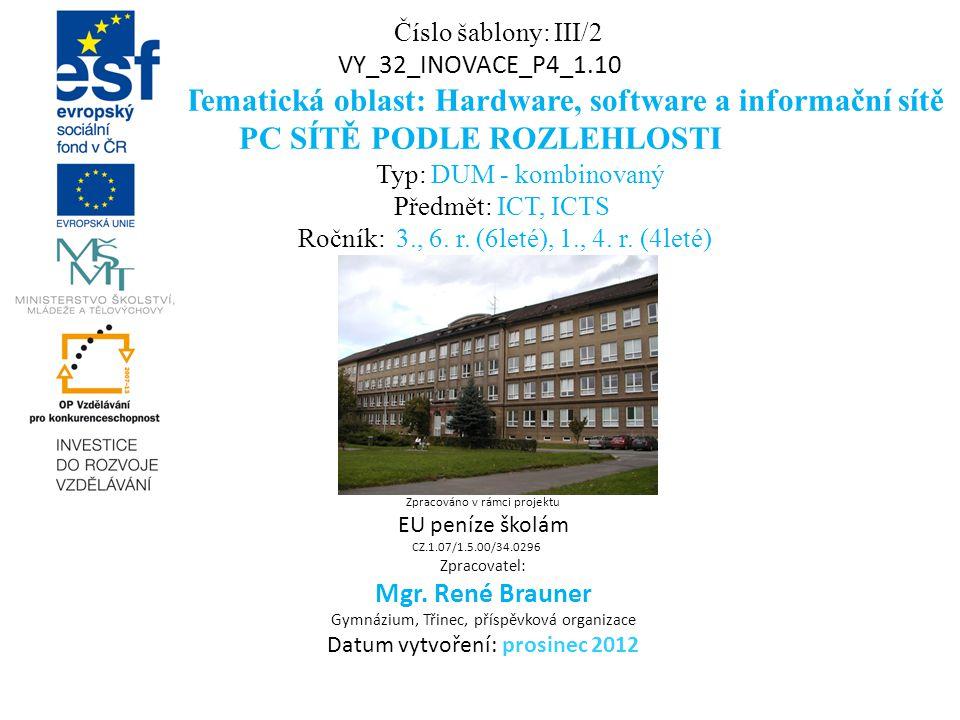 Číslo šablony: III/2 VY_32_INOVACE_P4_1.10 Tematická oblast: Hardware, software a informační sítě PC SÍTĚ PODLE ROZLEHLOSTI Typ: DUM - kombinovaný Předmět: ICT, ICTS Ročník: 3., 6.