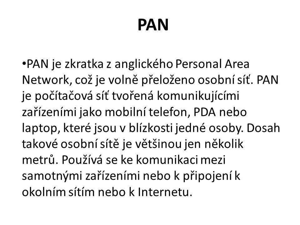 PAN PAN je zkratka z anglického Personal Area Network, což je volně přeloženo osobní síť.