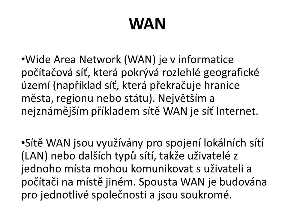 WAN Wide Area Network (WAN) je v informatice počítačová síť, která pokrývá rozlehlé geografické území (například síť, která překračuje hranice města, regionu nebo státu).