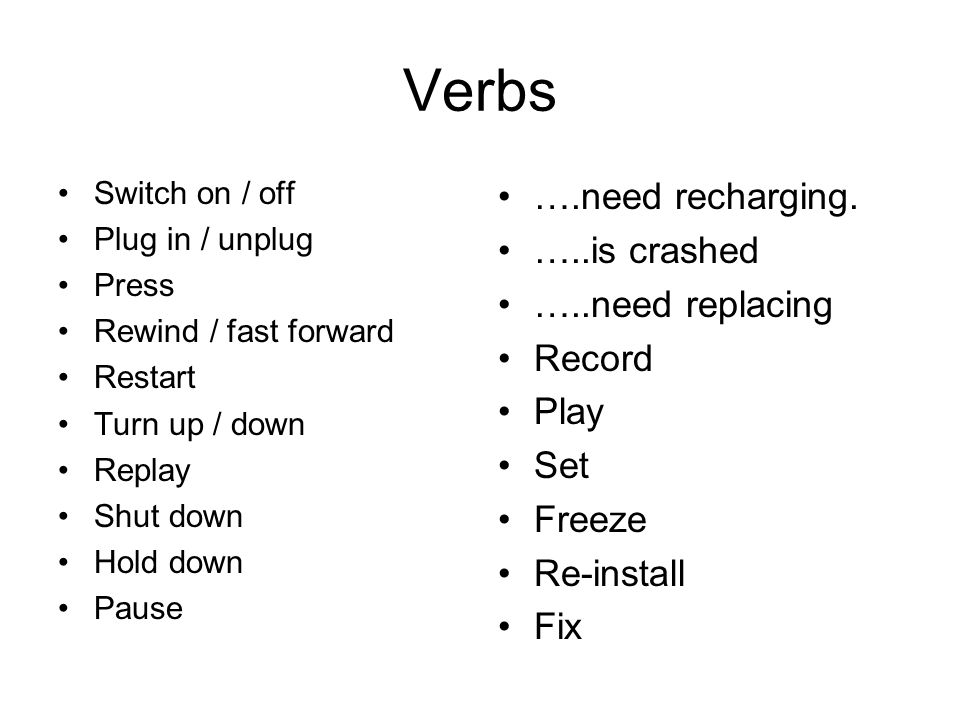 Verbs Switch on / off Plug in / unplug Press Rewind / fast forward Restart Turn up / down Replay Shut down Hold down Pause ….need recharging.