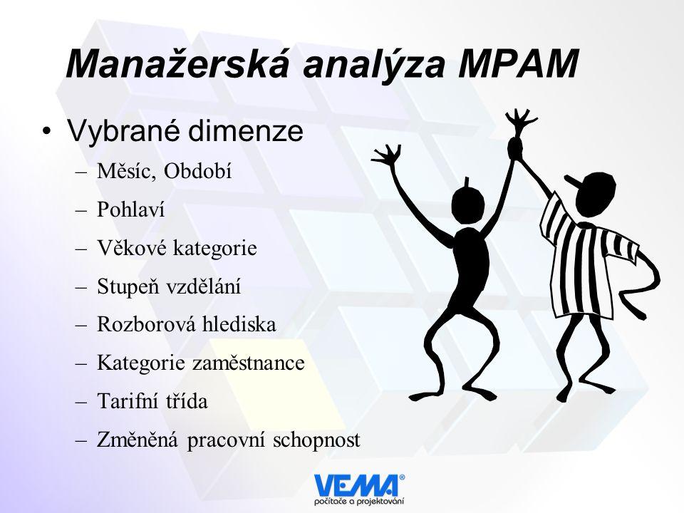 Manažerská analýza MPAM Vybrané dimenze –Měsíc, Období –Pohlaví –Věkové kategorie –Stupeň vzdělání –Rozborová hlediska –Kategorie zaměstnance –Tarifní třída –Změněná pracovní schopnost