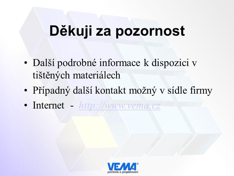 Děkuji za pozornost Další podrobné informace k dispozici v tištěných materiálech Případný další kontakt možný v sídle firmy Internet - http://www.vema.cz http://www.vema.cz