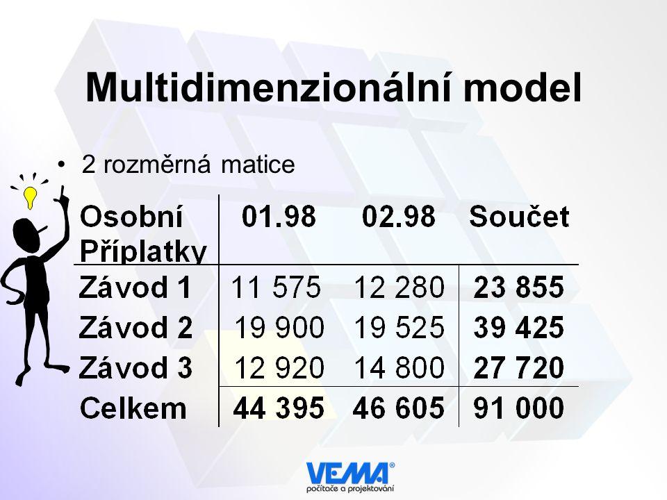 Multidimenzionální model 2 rozměrná matice
