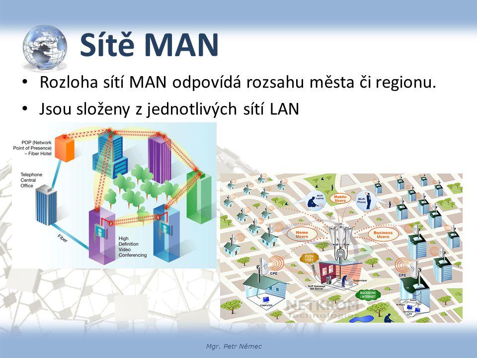 Mgr. Petr Němec Sítě MAN Rozloha sítí MAN odpovídá rozsahu města či regionu. Jsou složeny z jednotlivých sítí LAN