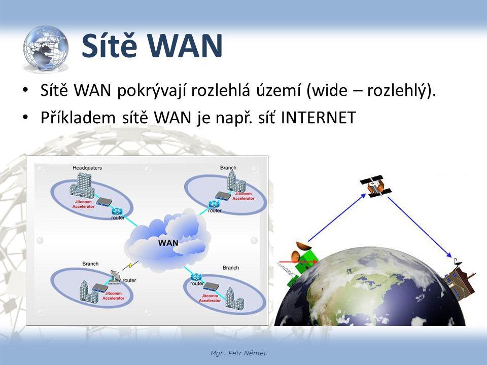 Mgr. Petr Němec Sítě WAN Sítě WAN pokrývají rozlehlá území (wide – rozlehlý). Příkladem sítě WAN je např. síť INTERNET