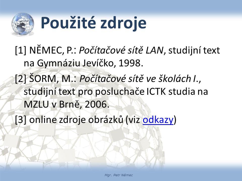 Mgr. Petr Němec Použité zdroje [1] NĚMEC, P. : Počítačové sítě LAN, studijní text na Gymnáziu Jevíčko, 1998. [2] ŠORM, M. : Počítačové sítě ve školách