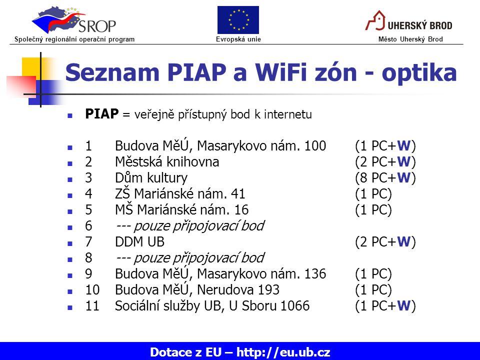Seznam PIAP a WiFi zón - optika PIAP = veřejně přístupný bod k internetu 1Budova MěÚ, Masarykovo nám. 100(1 PC+W) 2Městská knihovna(2 PC+W) 3Dům kultu