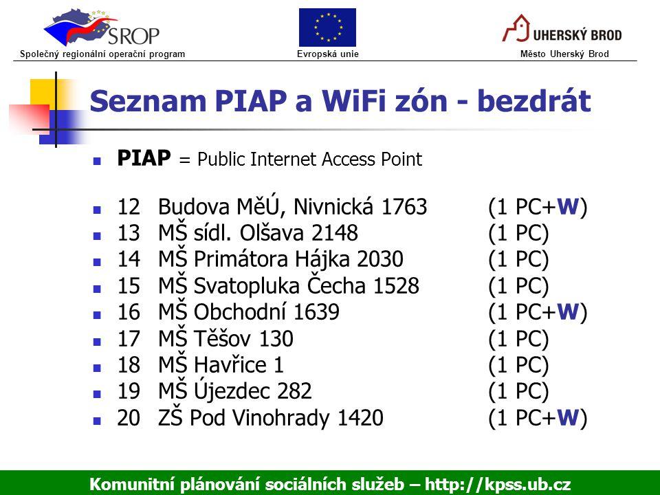 Seznam PIAP a WiFi zón - bezdrát PIAP = Public Internet Access Point 12Budova MěÚ, Nivnická 1763(1 PC+W) 13MŠ sídl. Olšava 2148(1 PC) 14MŠ Primátora H