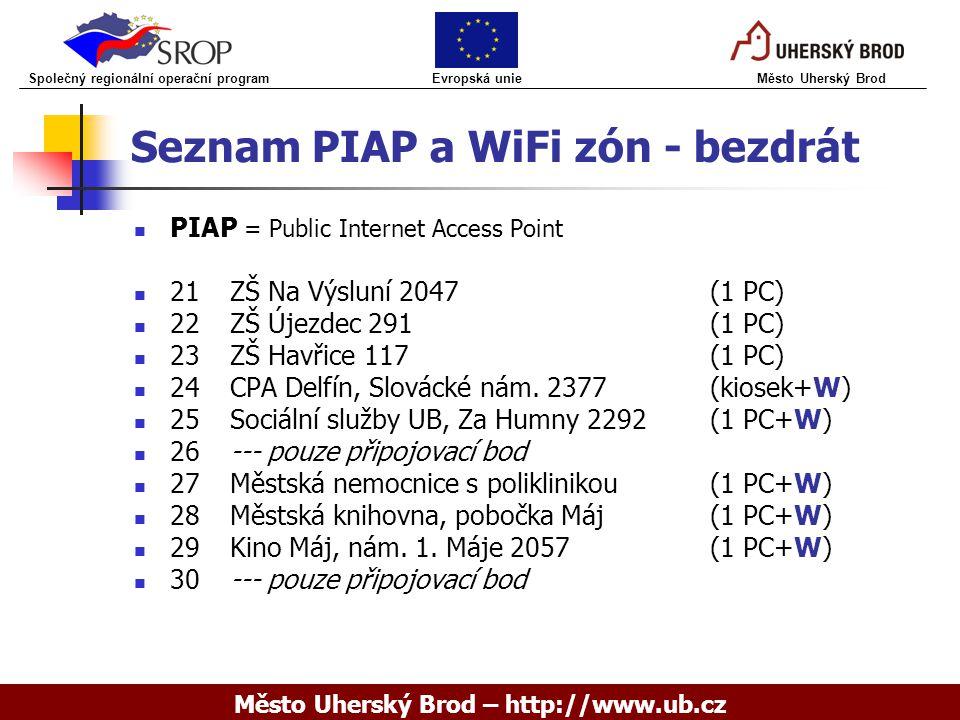 Seznam PIAP a WiFi zón - bezdrát PIAP = Public Internet Access Point 21ZŠ Na Výsluní 2047(1 PC) 22ZŠ Újezdec 291(1 PC) 23ZŠ Havřice 117(1 PC) 24CPA Delfín, Slovácké nám.