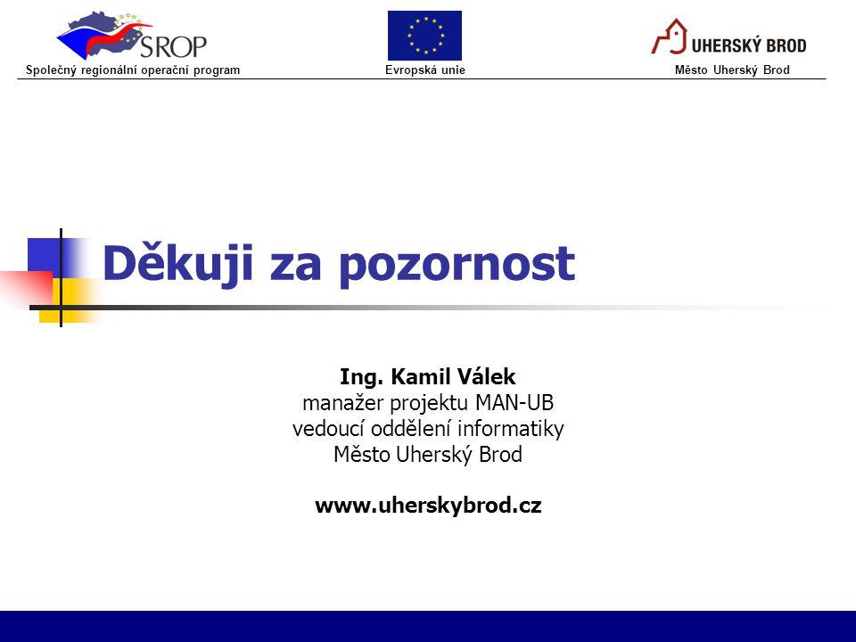 Děkuji za pozornost Ing. Kamil Válek manažer projektu MAN-UB vedoucí oddělení informatiky Město Uherský Brod www.uherskybrod.cz Společný regionální op