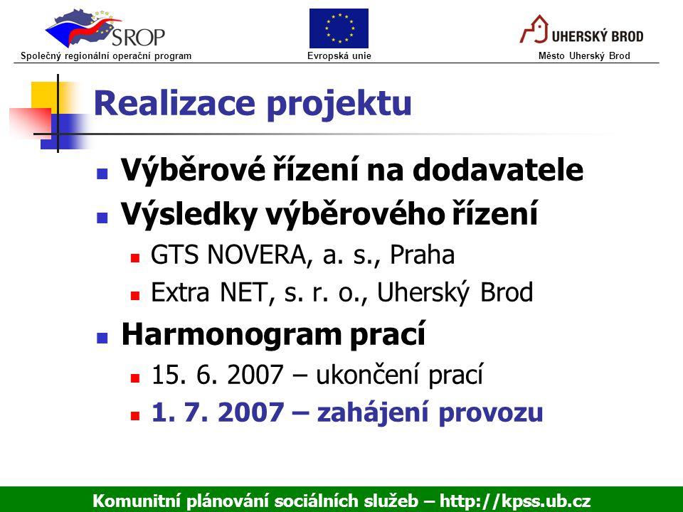 Realizace projektu Výběrové řízení na dodavatele Výsledky výběrového řízení GTS NOVERA, a. s., Praha Extra NET, s. r. o., Uherský Brod Harmonogram pra