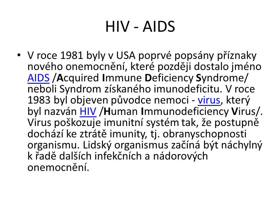 HIV - AIDS V roce 1981 byly v USA poprvé popsány příznaky nového onemocnění, které později dostalo jméno AIDS /Acquired Immune Deficiency Syndrome/ ne