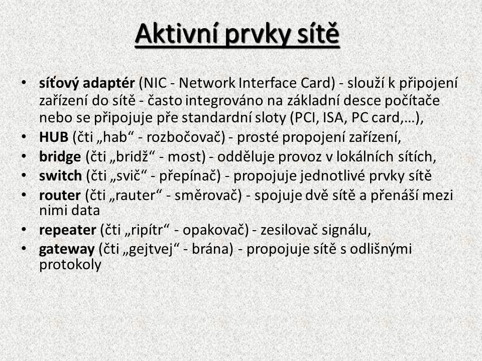 Pasivní prvky sítě fyzické propojení počítačů (kabeláž - metalická, optická, bezdrátové - infračervené, mikrovlnné, GSM, laser), počítačové zásuvky, p