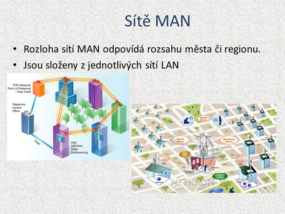 Sítě LAN Sítě LAN se rozkládají na rozloze řádově stovek metrů (budovy, byty)