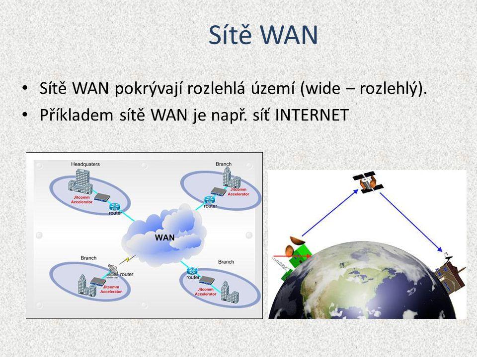 Sítě WAN Sítě WAN pokrývají rozlehlá území (wide – rozlehlý).