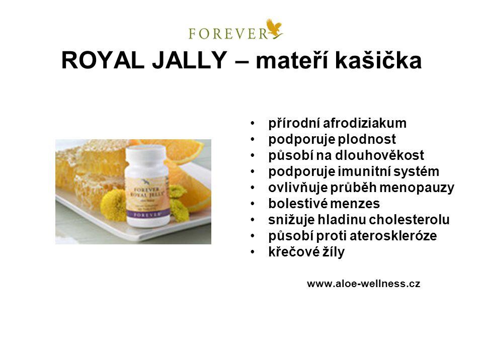 ROYAL JALLY – mateří kašička přírodní afrodiziakum podporuje plodnost působí na dlouhověkost podporuje imunitní systém ovlivňuje průběh menopauzy bole