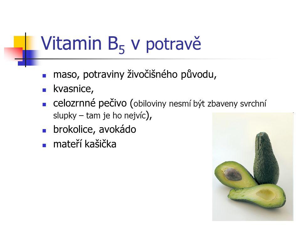 Vitamin B 5 v potravě maso, potraviny živočišného původu, kvasnice, celozrnné pečivo ( obiloviny nesmí být zbaveny svrchní slupky – tam je ho nejvíc ), brokolice, avokádo mateří kašička