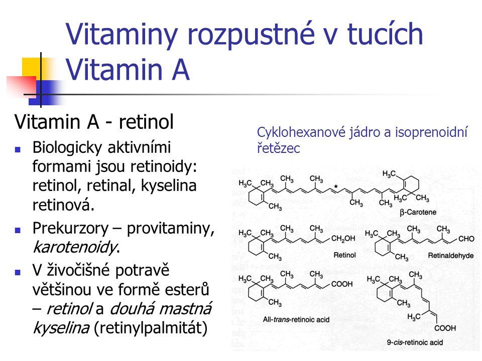 Vitaminy rozpustné v tucích Vitamin A Vitamin A - retinol Biologicky aktivními formami jsou retinoidy: retinol, retinal, kyselina retinová. Prekurzory