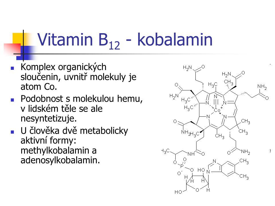 Vitamin B 12 - kobalamin Komplex organických sloučenin, uvnitř molekuly je atom Co.