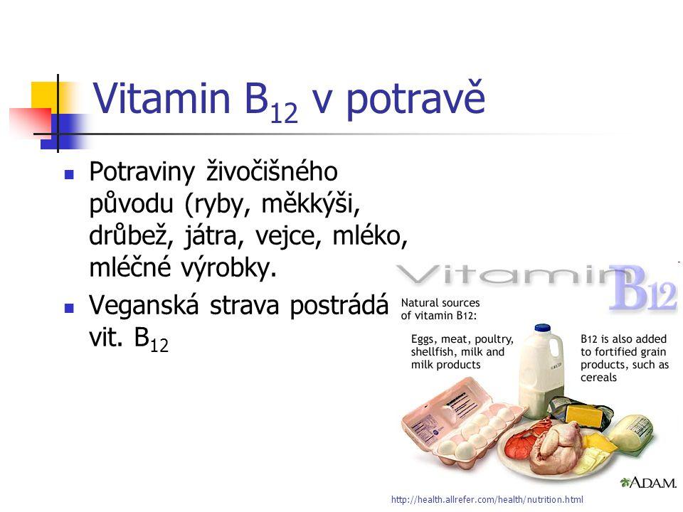 Vitamin B 12 v potravě Potraviny živočišného původu (ryby, měkkýši, drůbež, játra, vejce, mléko, mléčné výrobky. Veganská strava postrádá vit. B 12 ht