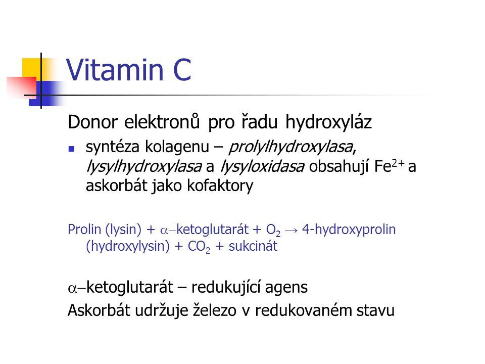 Vitamin C Donor elektronů pro řadu hydroxyláz syntéza kolagenu – prolylhydroxylasa, lysylhydroxylasa a lysyloxidasa obsahují Fe 2+ a askorbát jako kofaktory Prolin (lysin) +  ketoglutarát + O 2 → 4-hydroxyprolin (hydroxylysin) + CO 2 + sukcinát  ketoglutarát – redukující agens Askorbát udržuje železo v redukovaném stavu