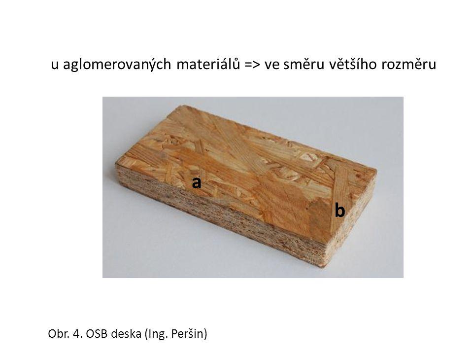 Obr. 4. OSB deska (Ing. Peršin) u aglomerovaných materiálů => ve směru většího rozměru a b