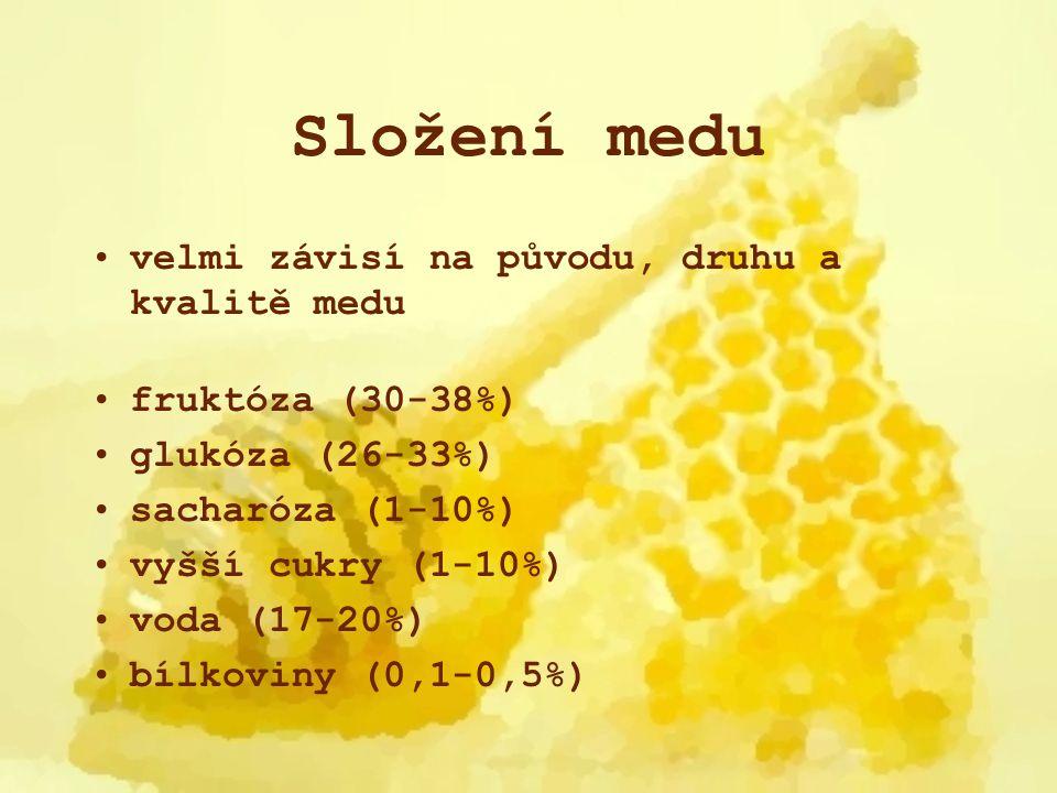 Složení medu velmi závisí na původu, druhu a kvalitě medu fruktóza (30-38%) glukóza (26-33%) sacharóza (1-10%) vyšší cukry (1-10%) voda (17-20%) bílko