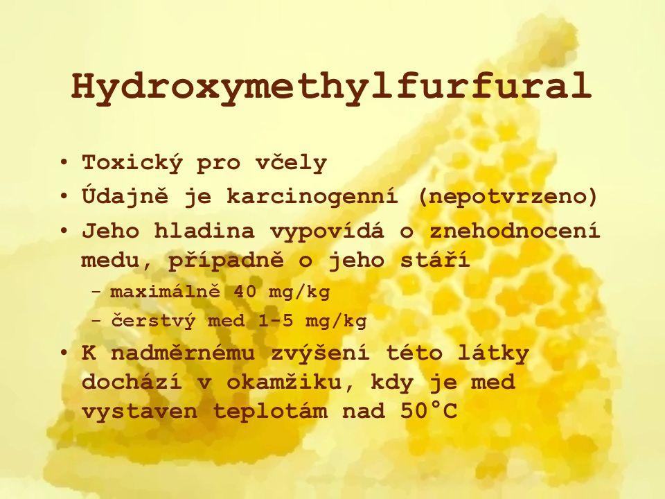 Hydroxymethylfurfural Toxický pro včely Údajně je karcinogenní (nepotvrzeno) Jeho hladina vypovídá o znehodnocení medu, případně o jeho stáří -maximál