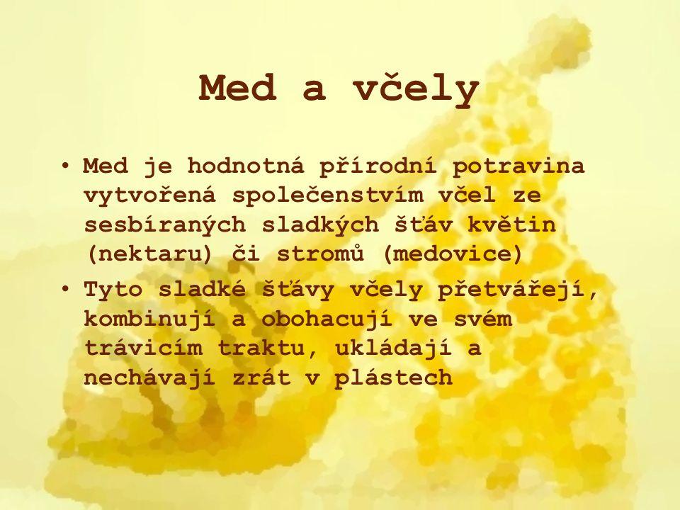 Med a včely Med je hodnotná přírodní potravina vytvořená společenstvím včel ze sesbíraných sladkých šťáv květin (nektaru) či stromů (medovice) Tyto sl