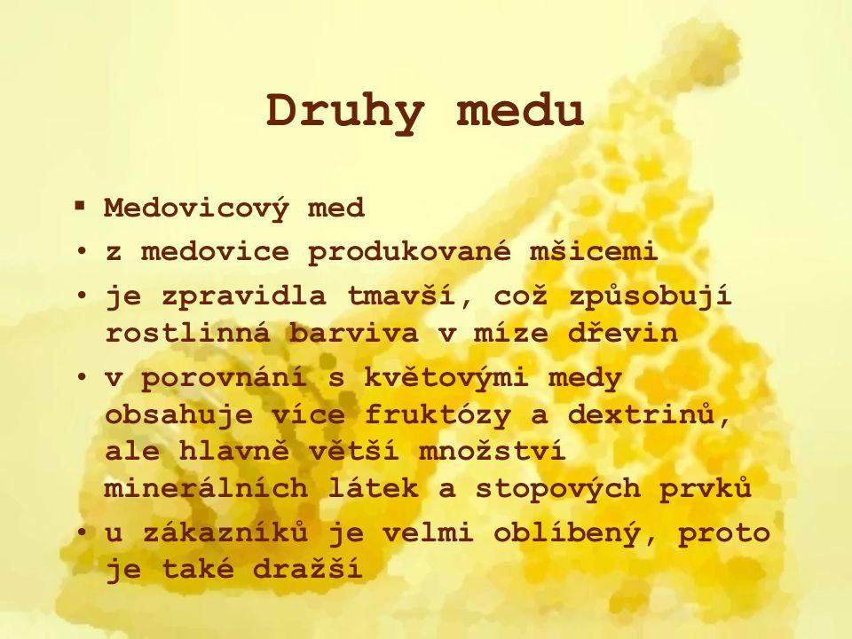 Druhy medu  Medovicový med z medovice produkované mšicemi je zpravidla tmavší, což způsobují rostlinná barviva v míze dřevin v porovnání s květovými