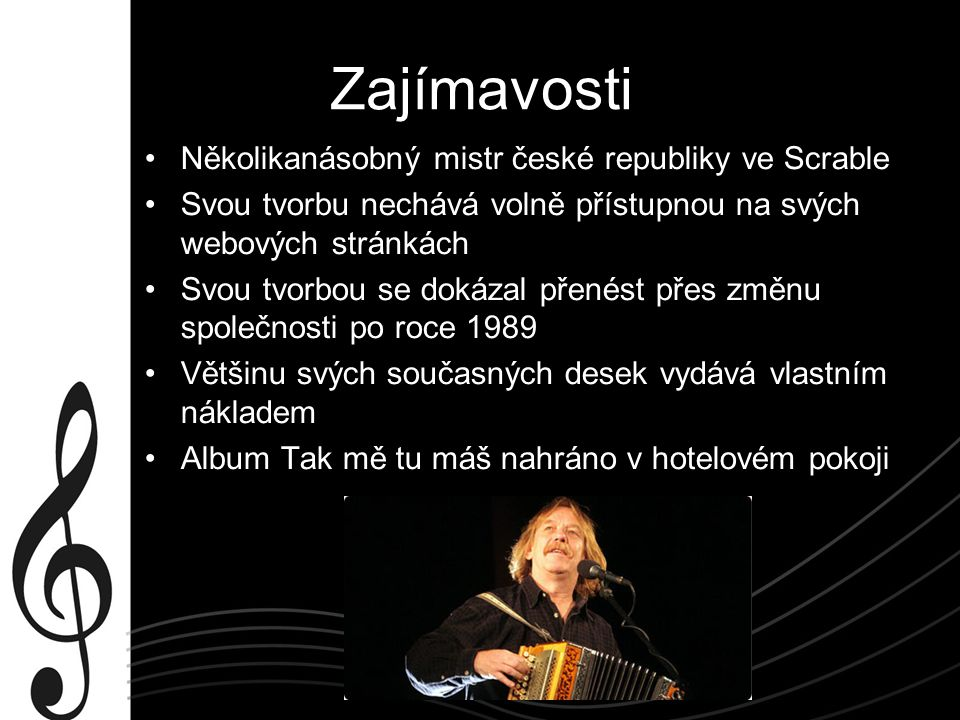Dílo Jaromíra Nohavici Minideska (1985 ) Minideska Písně pro V.