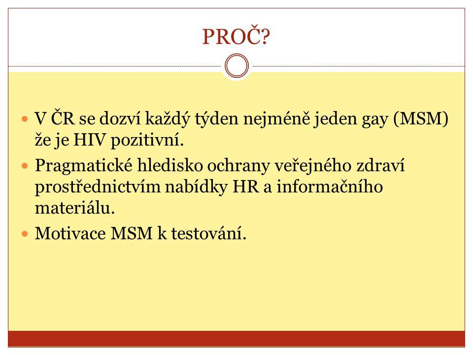 PROČ? V ČR se dozví každý týden nejméně jeden gay (MSM) že je HIV pozitivní. Pragmatické hledisko ochrany veřejného zdraví prostřednictvím nabídky HR