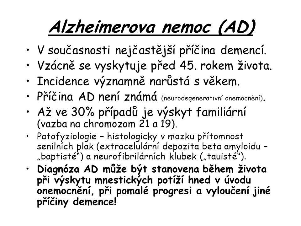 Alzheimerova nemoc (AD) V současnosti nejčastější příčina demencí.