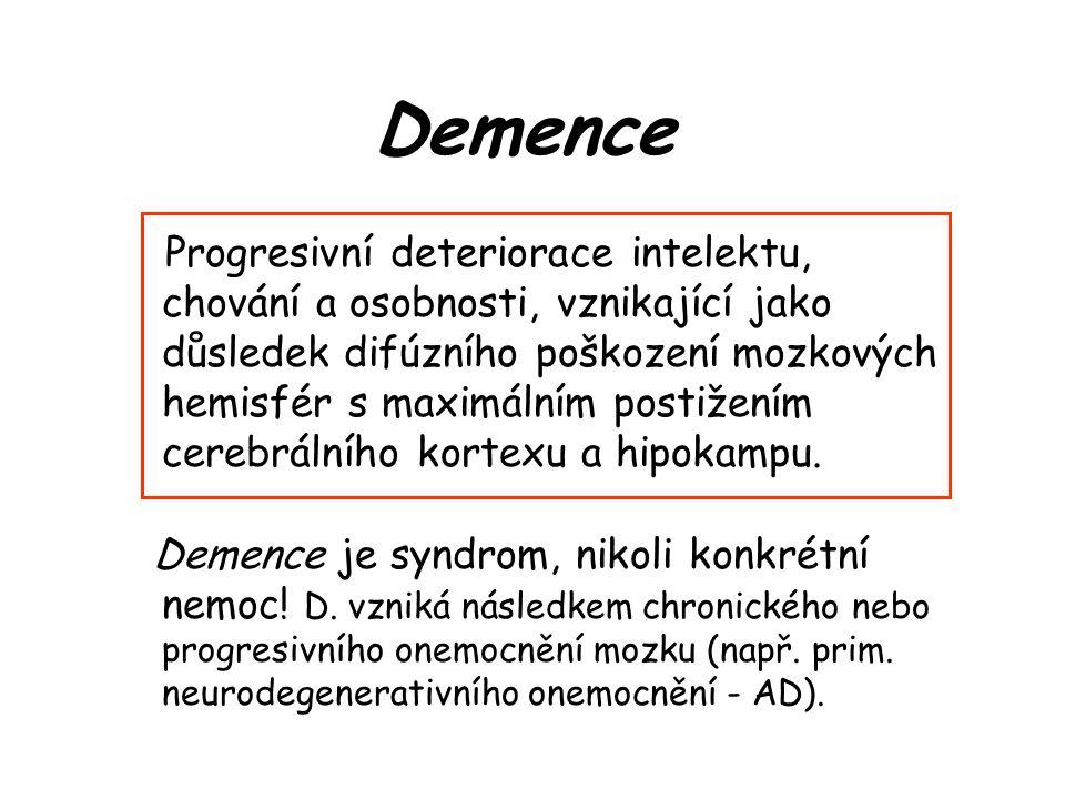 """AD – léčba Kombinace farmakologických a nefarmakologic- kých postupů - Inhibitory acetylcholinesterázy (Donepezil [Aricept], Rivastigmin [Exelon], Galantamin [Reminyl]) – opakovaně prokázána účinnost v časných stádiích onemocnění (""""kognitiva )."""