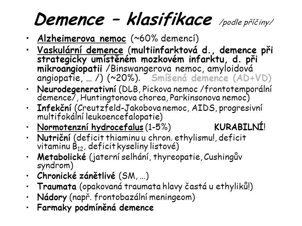Demence – klasifikace /podle příčiny/ Alzheimerova nemoc (~60% demencí) Vaskulární demence (multiinfarktová d., demence při strategicky umístěném mozkovém infarktu, d.