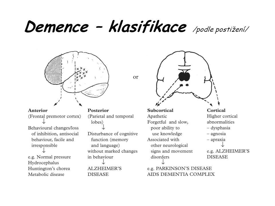 Demence – anamnéza a klinické vyšetření Autoanamnéza + objektivní anamnéza: zjistit rychlost deteriorace intelektu, přítomnost dalších kognitivních a nekognitivních příznaků, event.