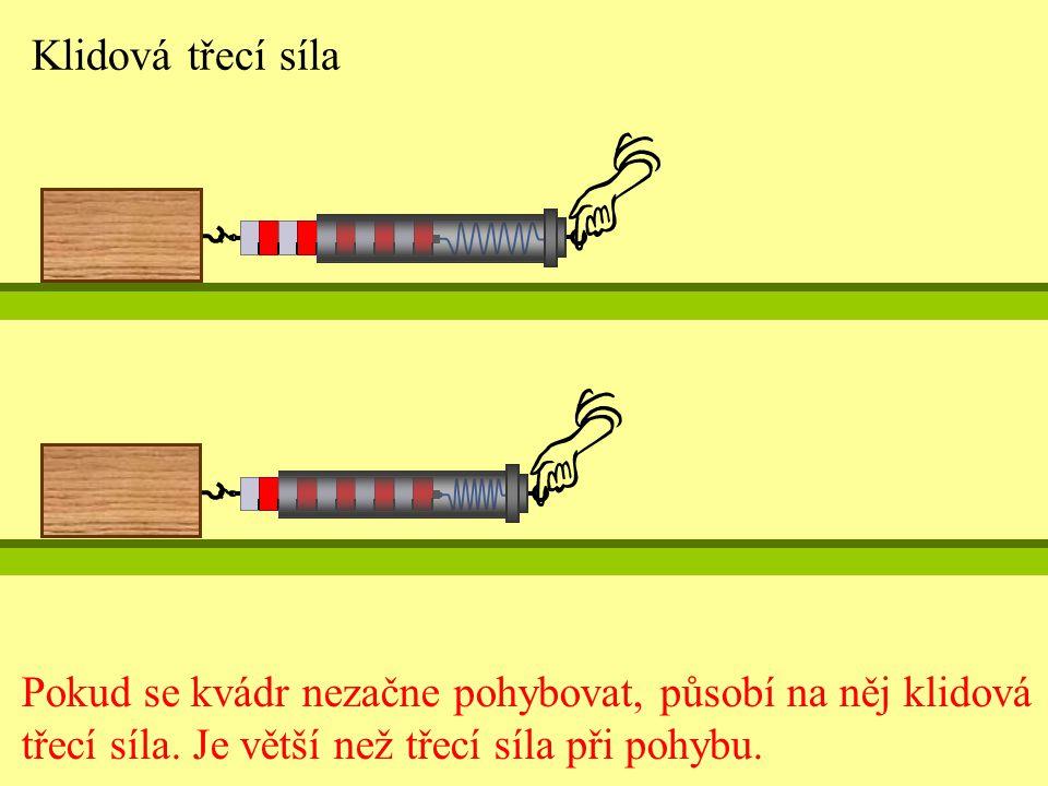 Klidová třecí síla Pokud se kvádr nezačne pohybovat, působí na něj klidová třecí síla.