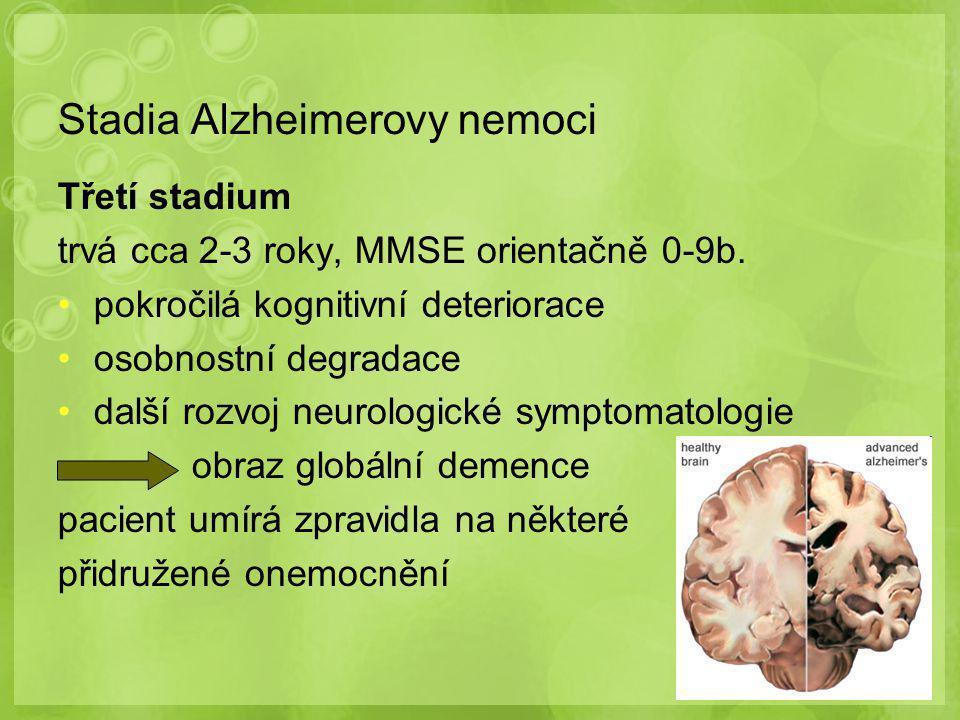 Stadia Alzheimerovy nemoci Třetí stadium trvá cca 2-3 roky, MMSE orientačně 0-9b. pokročilá kognitivní deteriorace osobnostní degradace další rozvoj n