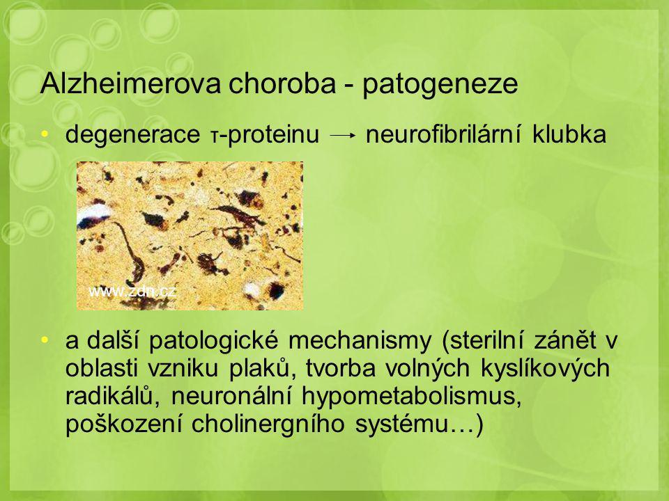 Alzheimerova choroba - patogeneze degenerace τ -proteinu neurofibrilární klubka a další patologické mechanismy (sterilní zánět v oblasti vzniku plaků,