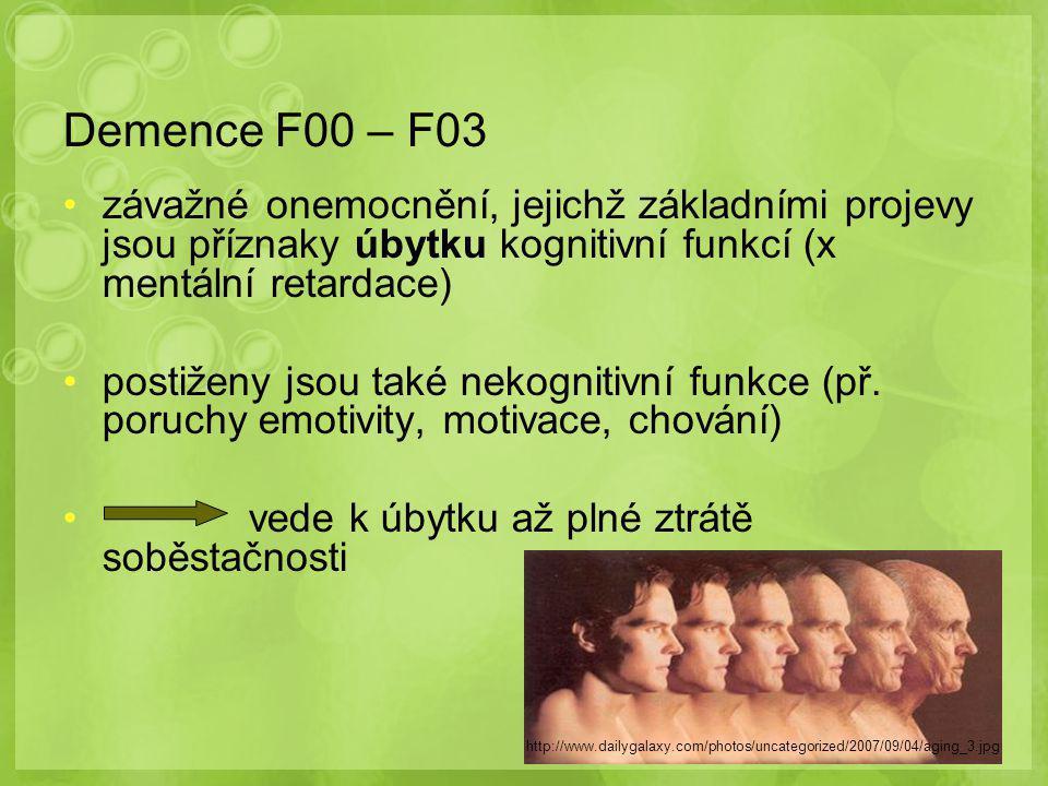 Demence F00 – F03 závažné onemocnění, jejichž základními projevy jsou příznaky úbytku kognitivní funkcí (x mentální retardace) postiženy jsou také nekognitivní funkce (př.