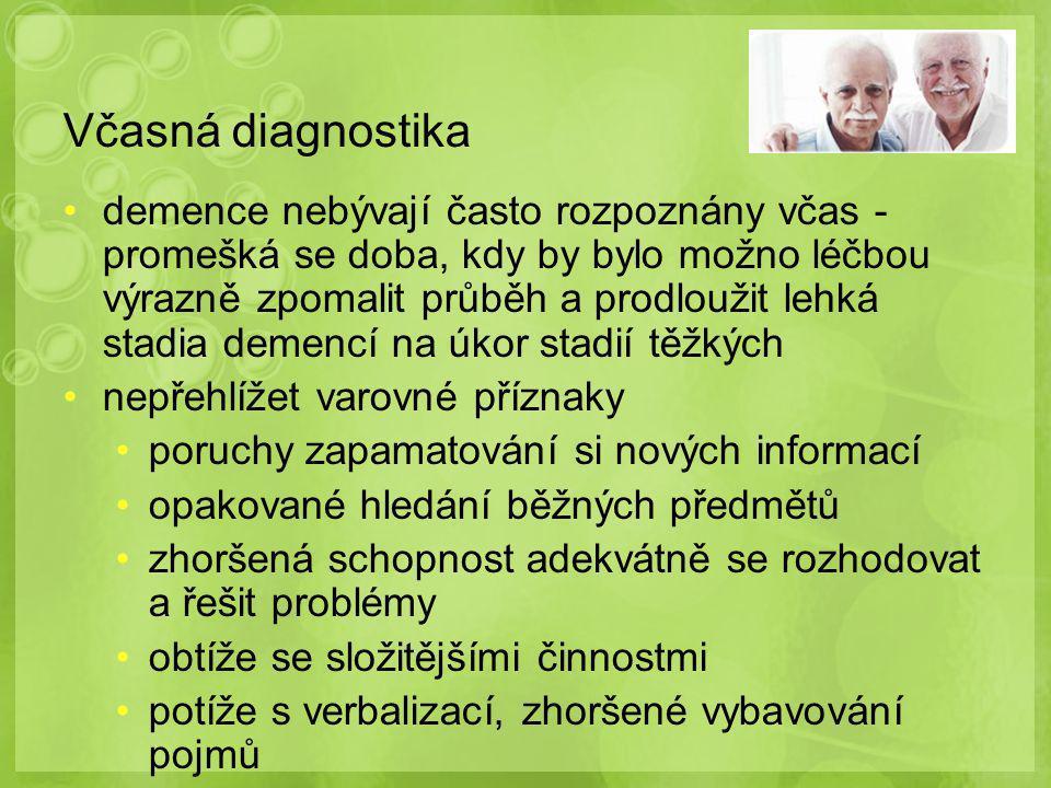 Včasná diagnostika diferenciální diagnostika – různé druhy demencí, vyloučení pseudodementních syndromů vnímavý vyšetřující (citlivé oblasti života pacienta, pocity studu, obav, pacienta nezesměšnit…) navazující účinná terapie kvalita života pacienta a jeho rodiny